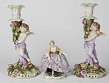 (lot of 3) Continental porcelain group, consisting of a Royal Vienna porcelain figure depicting a young beauty gazing downward kneel...