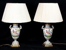 Pair of Chelsea type porcelain urns