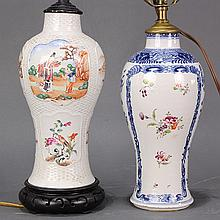 Two Chinese Export Porcelain Vases/Lamps