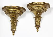 Pair of Neoclassical gilt wall brackets
