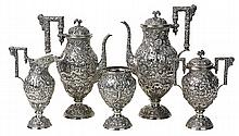 American sterling silver five piece hot beverage suite