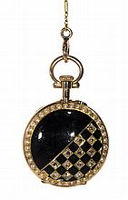 Victorian diamond, seed pearl, enamel and gold pendant-watch