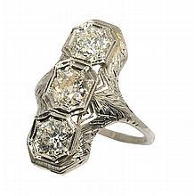 Art Deco diamond and 20k white gold ring