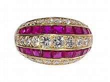 Tiffany & Co. Ruby, diamond and 18k yellow gold ring
