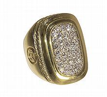 David Yurman diamond and 18k yellow gold ring
