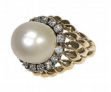 South Sea cultured pearl, diamond and 14k yellow gold ring