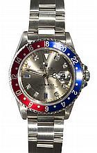 Gentleman's Rolex GMT II diamond, sapphire and stainless steel wristwatch, ref. 16700, circa 1990