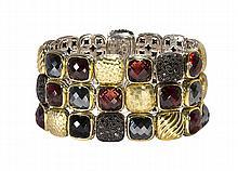 David Yurman garnet, black diamond and hematite bracelet