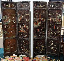 Chinese Stone Overlaid Lacquered Screen