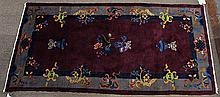 Chinese Art Deco style plum colored rug, with auspicious symbols, 3' x 5'10