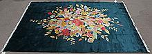 Chinese Art Deco style forest green floral rug, 6' x 9'