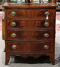 Federal bow front chest of drawers, executed in mahogany, circa 1800, the case having four drawers, with cock beading and inlaid qua...