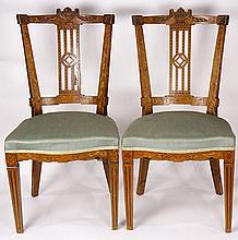Pair of marquetry inlaid side chairs