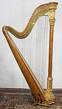 Gothic revival parcel gilt and bird's eye maple harp by Sébastien Érard