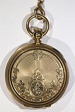 Waltham 14k yellow gold hunting case pocket watch with chain, 8 size , circa 1878
