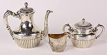 American and English sterling silver three piece coffee set, 31.19 troy oz.