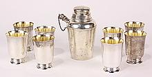 Reed & Barton and International sterling silver cocktail shakers and cordials, 24.53 troy oz.