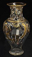 Continental partial gilt and enamel decorated vase