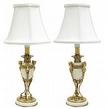 Pair of gilt bronze mounted marble boudoir lamps