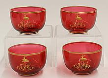(lot of 4) Continental partial gilt cranberry finger bowls