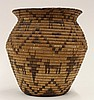 Pima basketry olla, of wide mouth form