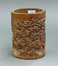 Chinese Bamboo Brush Pot, Scholars