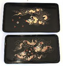 Japanese Lacqyered Trays, dragons