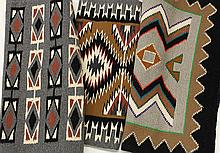 (lot of 3) Native American rugs, 2nd half 20th century, consisting of two Teec Nos Pos examples; together with another rug having ge...