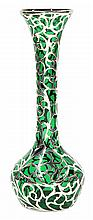 Art Nouveau silver overlaid vase