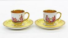 (lot of 2) Dresden partial gilt and polychrome decorated cups with saucers by Ambrosius Lamb, each having a gilt interior, the exter...