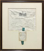 Early 19th century licensing document inducting John Thomas Banks into the Royal College of Surgeons