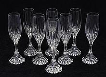 (lot of 8) Baccarat crystal Massena pattern champagne flutes