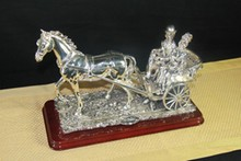 ITALIAN COUPLE RIDING CARRIAGE STERLING SILVER OVERLAY 15