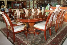 EXQUISITE EXOTIC WOOD INLAID DINING TABLE COLLECTION W/EXTENSIVE CARVING TABLE 126