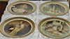 ITALIAN ,VICTORIAN DREAMS PORCELAIN  SET OF 4 HANGING PLATES 24KT EMBOSSED GOLD
