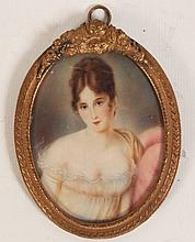 SIGNED OVAL PORTRAIT MINIATURE OF WOMAN
