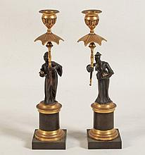 PAIR OF FRENCH CHINOISERIE BRONZE FIGURAL CANDLESTICKS