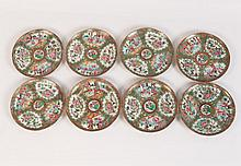 SET OF 8 EARLY ROSE MEDALLION PLATES