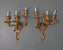 PAIR OF 19TH C. GILT BRONZE WALL SCONCE