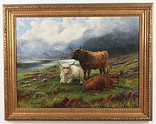 CAMPBELL, 19TH C. OIL ON CANVAS SCOTTISH HIGHLAND SCENE PAINTING