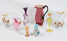 8 PIECE MISCELLANEOUS LOT OF AMERICAN BLOWN GLASS