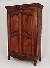 19TH C. LOUIS XV STYLE FRENCH PROVINCIAL WALNUT ARMOIRE