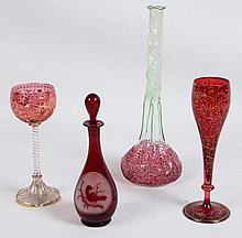 4 PIECE MISCELLANEOUS LOT OF RED BOHEMIAN, MOSER TYPE BLOWN GLASS