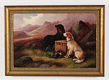 R. CLEMINSON, 19TH C. OIL ON CANVAS PAINTING OF DOGS