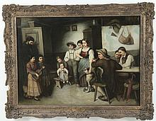 J. PAFAUER, 19TH C. OIL ON CANVAS INTERIOR SCENE PAINTING