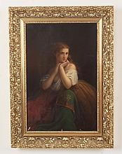 D.M. CARTER, LATE 19TH C.OIL ON CANVAS PORTRAIT OF YOUNG GIRL