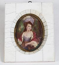SIGNED MINIATURE PORTRAIT OF WOMAN
