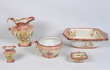 6 PIECE FLORAL PAINTED ENGLISH BOWL AND PITCHER SET