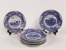 SET OF 7 BLUE AND WHITE OLD STAFFORDSHIRE WARE PLATES