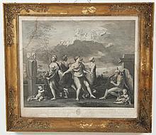 FRAMED METAL ENGRAVING OF ITALIAN MYTHOLOGICAL SCENE